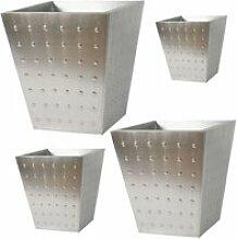 Cache-pot carré en zinc brossé, série de 4