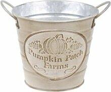 Cache pot de fleurs beige pumpkin en métal aspect
