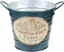 Cache pot de fleurs bleu pumpkin en métal aspect