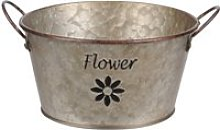 Cache pot de fleurs flower en métal aspect zinc 9