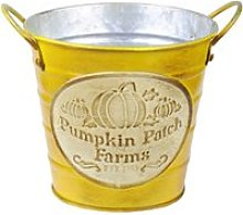Cache pot de fleurs jaune pumpkin en métal aspect