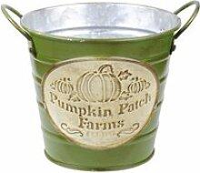 Cache pot de fleurs vert pumpkin en métal aspect