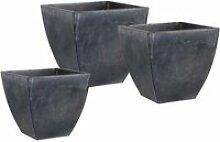 Cache pot en zinc noir (lot de 3)