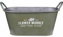Cache-pot kaki flower market en métal aspect zinc