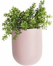 Cache pot mural en céramique oval rose