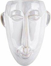 Cache pot mural mask 22 cm blanc