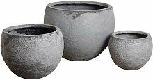 Cache-pot rond en fibre de ciment (Lot de 3) - Gris