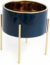 Cache-pot sur pied design Clyde - H. 17 cm - Bleu