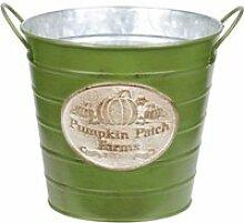 Cache-pot vert pumpkin en métal aspect zinc 15 cm