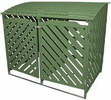 Cache poubelle double vert sauge 25750