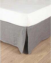 Cache-sommier 160x200 en lin lavé gris