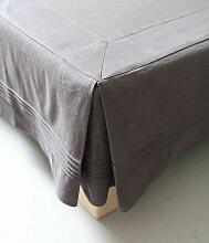 Cache sommier coton gris granit