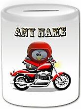 Cadeau personnalisé–Tirelire moto (Pingouin