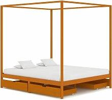 Cadre de lit à baldaquin avec 4 tiroirs Bois de