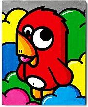 Cadre imprimé Urban art - Oiseau rouge en béton