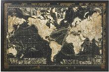 Cadre lumineux carte du monde noire 180x120