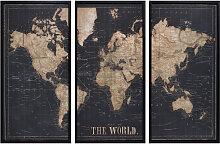 Cadre triptyque carte du monde noir 180x120