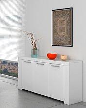 CAESAROO Buffet 144x80 cm Blanc mat avec trois