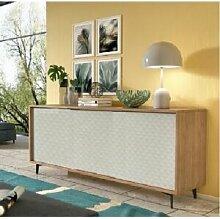 CAESAROO Buffet 184 cm Chêne et blanc mat avec 3
