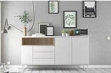 CAESAROO Buffet de salon 175x89 cm Blanc mat et