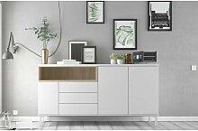 Caesaroo - Buffet de salon 175x89 cm Blanc mat et