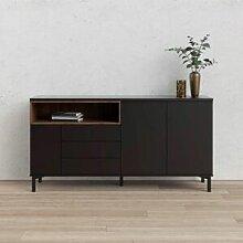 CAESAROO Buffet de salon 175x89 cm Noir mat et