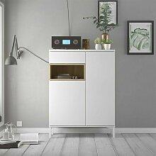 Caesaroo - Buffet de salon 89xH119 cm Blanc mat et