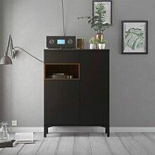 CAESAROO Buffet de salon 89xH119 cm Noir mat et