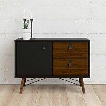 CAESAROO Buffet salon 101x40 cm Noir mat et Noyer