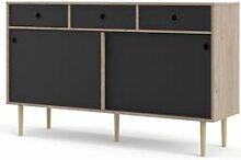 CAESAROO Buffet salon 147x40 cm noir mat et chêne