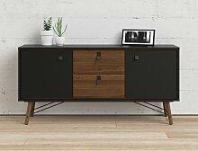 Caesaroo - Buffet salon 150x40 cm Noir mat et