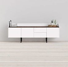 CAESAROO Buffet salon 195x40 cm Blanc mat et noyer