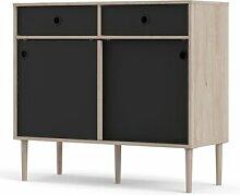 CAESAROO Buffet salon 99x40 cm noir mat et chêne