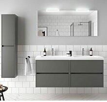 CAESAROO Meuble de salle de bain suspendu 140 cm