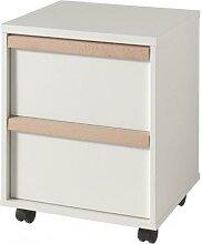 Caisson de bureau blanc 2 tiroirs de rangement