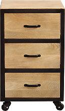 Caisson de bureau industriel 3 tiroirs en manguier