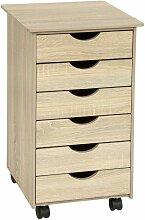 Caisson de bureau meuble en bois marron chêne