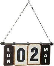 Calendrier à suspendre, métal 42x18 cm