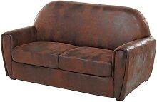 Canapé 2/3 places microfibre aspect cuir vieilli