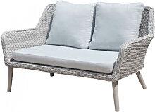 Canapé 2 places de jardin aluminium et rotin gris