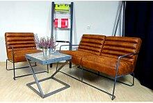 Canapé 2 places en cuir de style industriel et