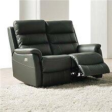 Canapé 2 places relax électrique anthracite en