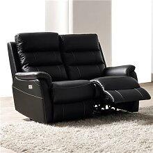 Canapé 2 places relax électrique noir en cuir