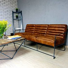 Canapé 3 places en cuir de style industriel et