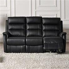 Canapé 3 places relax électrique noir en cuir