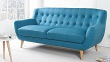 Canapé 3 places tissu bleu scandinave - Sverker