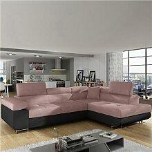 Canapé angle à droite convertible rose et noir
