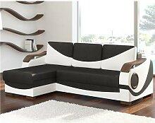 Canapé angle universel convertible noir et blanc