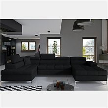 Canapé convertible panoramique en tissu noir EDNA