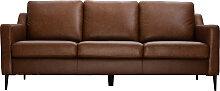Canapé cuir design 3 places marron OXMO - cuir de